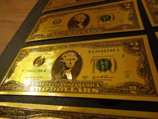 Lucky 24 Kt Gold Two Dollar Note - 2 Dollar Gift Bill,  In Pvc Plastic Holder photo