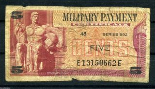 Military Payment Certificate Series 692 5 Cent photo