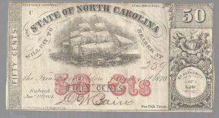State Of North Carolina 50 Cents Scrip - 1864 - Confederate - 259 Vg photo