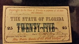 Florida 1863 25 Cent Uncirculated Banknote photo