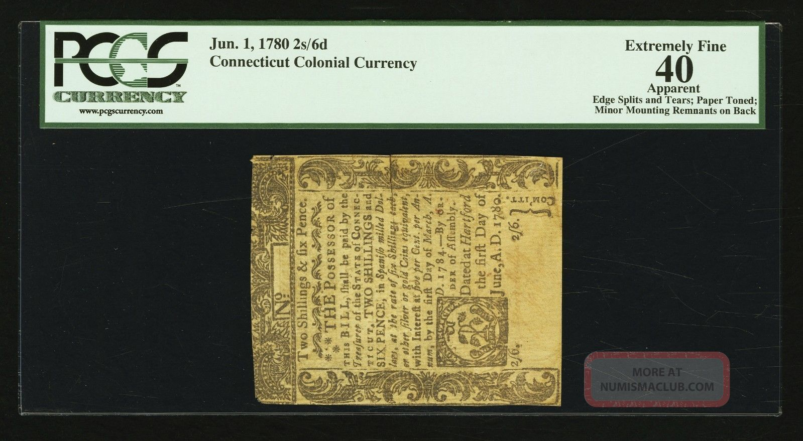 Connecticut Colonial Currency 2s,  6d - Uncancelled June 1,  1780 - Pcgs Graded Ef 40 Paper Money: US photo
