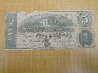 1864 $5 Dollars Treasury Va Richmond Confederate Bank Note Civil War Era 3606 photo