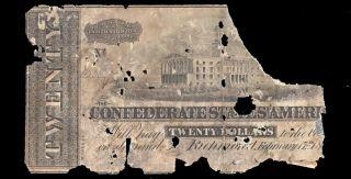 $20 Richmond 1864 Csa Nashville T - 67 Old Va & Tn Confederate Paper Currency Note photo