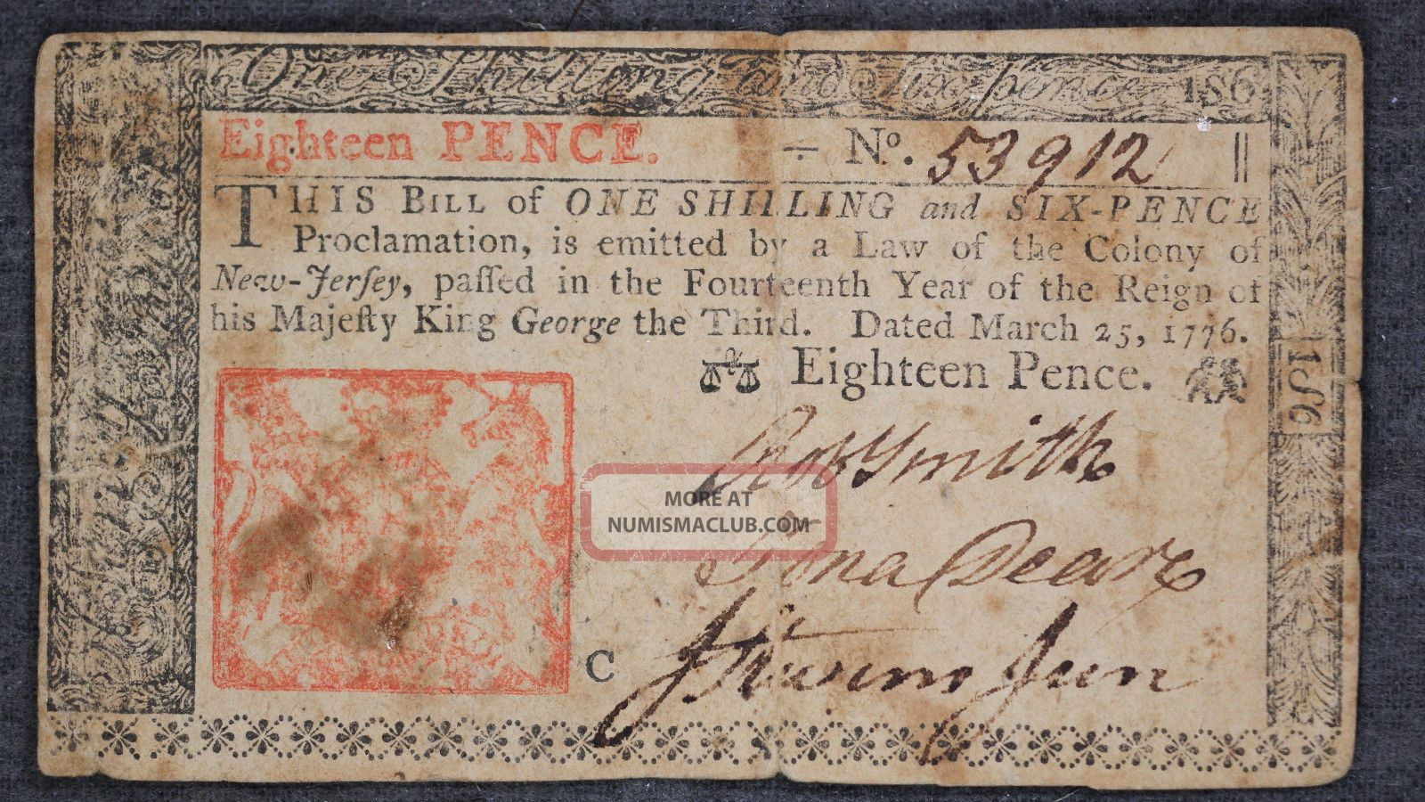 Eighteen Pence Jersey Note In Fine Paper Money: US photo