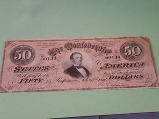 1864 50 Dollar Bill Confederate Currency Note Civil War Paper Money T - 66 photo