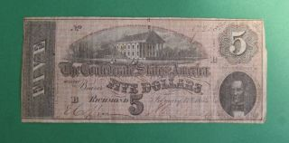 1864 $5 Dollar Bill Confederate States Of America Note photo