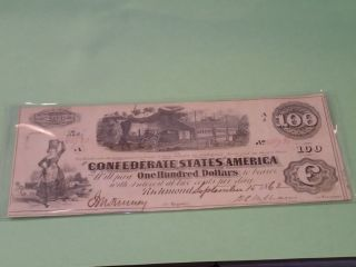 1862 100 Dollar Bill Confederate Currency Note Civil War Paper Money T - 40 photo