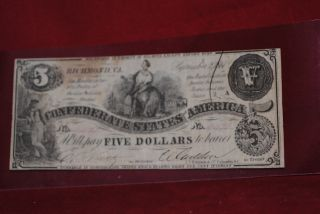 Confederate Currency - - 5.  00 Sept.  1861,  Numbered,  Signed And Cut Cancelled photo