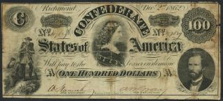 1862 $100 T - 49 Csa Note,  Scarcer Issue From The Civil War photo