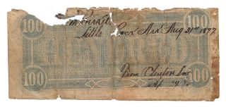 Confederate States Of America $100 Short Snorter 17/02/1864 Pick: 71 Vg photo