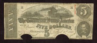 $5 1863 The Confederate States Of America Richmond More Currency 4 Vh photo