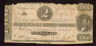 $2 1863 The Confederate States Of America Richmond More Currency 4 Bv photo