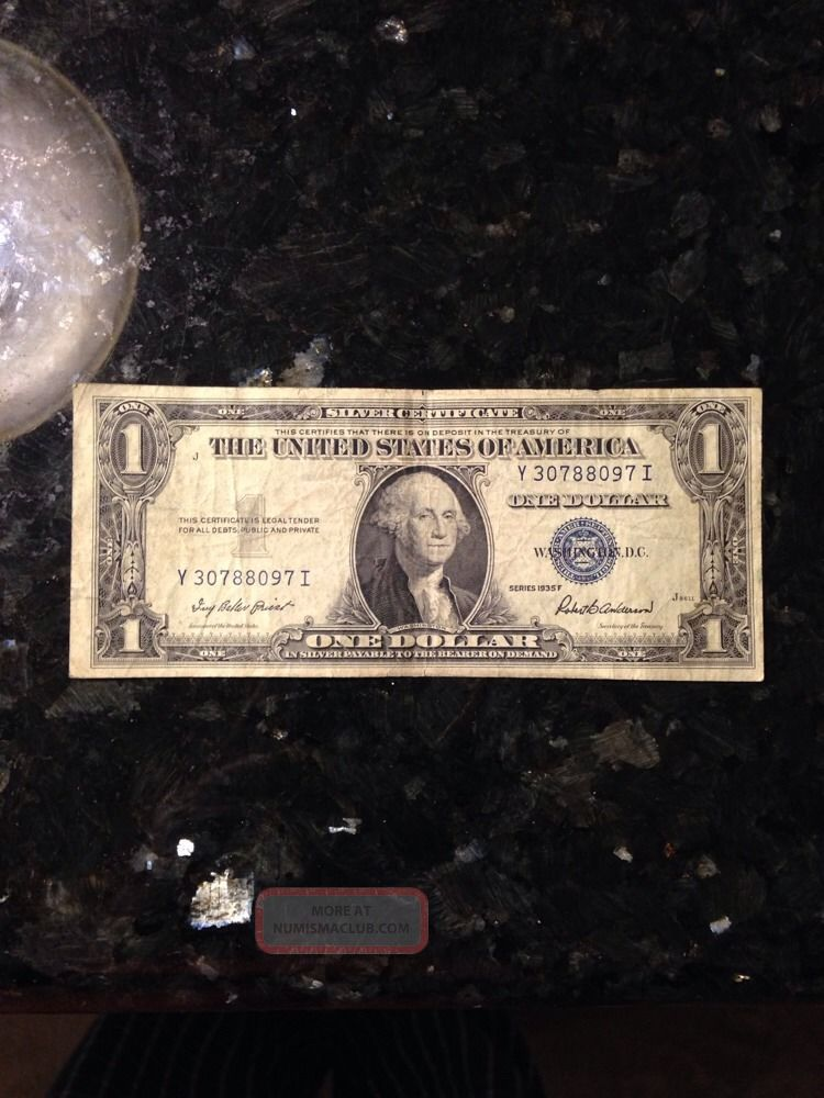 Rare Old 1935 F U S Blue Seal 1 One Dollar Bill Silver