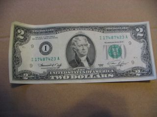 Two Dollar Bill 1976 I 17487423 A Bicentennial Light Crease photo