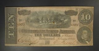 1864 Us T - 68 $10 Confederate Banknote Choice Vf (a) photo