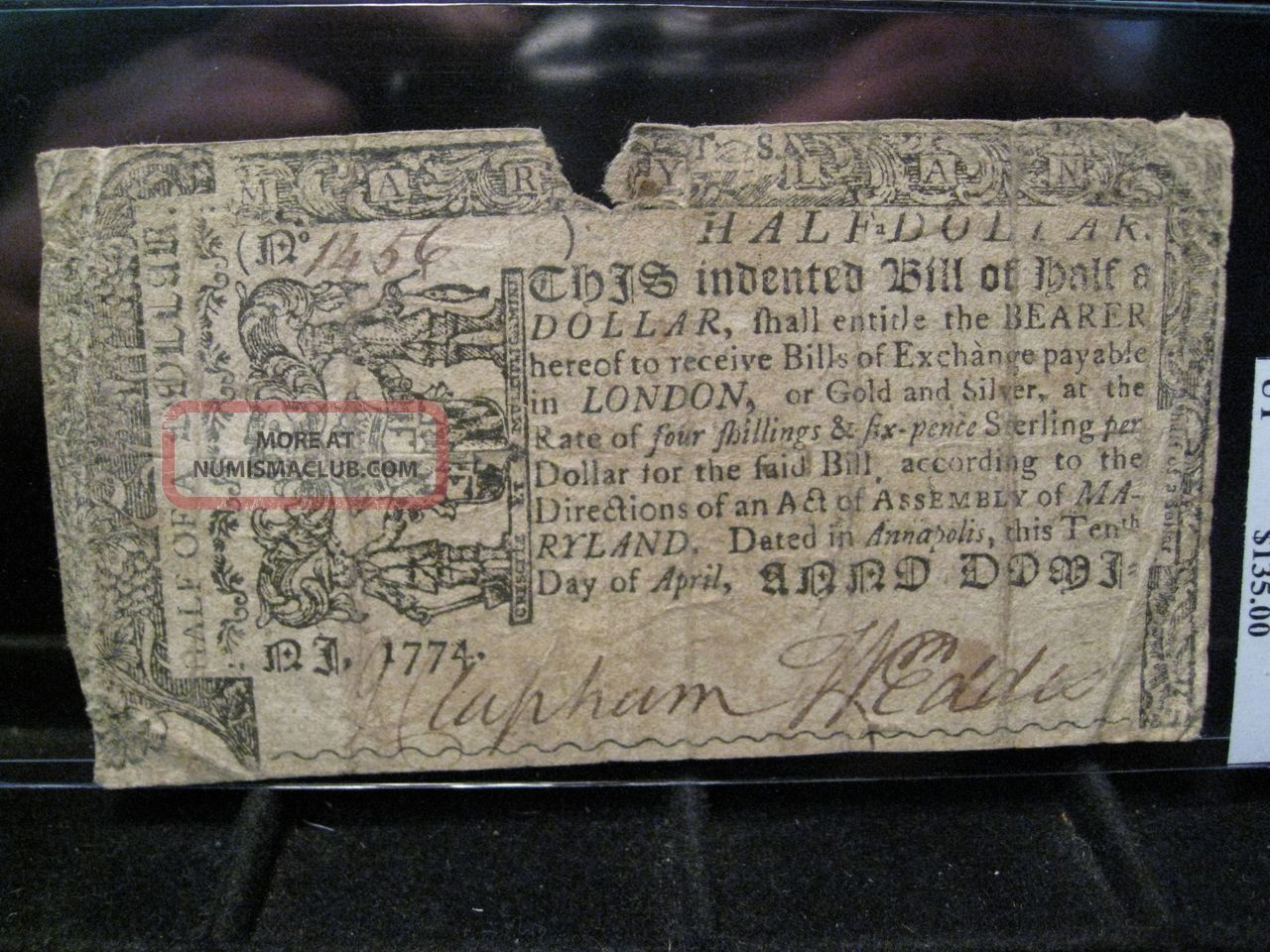 1774,  April 10 - Maryland Us Colonial Note.  Half Dollar.  Serial 1456. Paper Money: US photo
