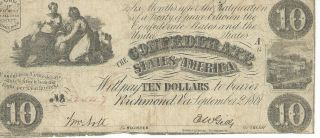 Csa 1861 Confederate Currency T28 $10 Bank Note Vf Cr236 Plate A14 22547 photo