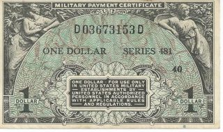 Mpc Series 481 Military Payment Certificate $1 Chxf 1951 Currency 153d photo