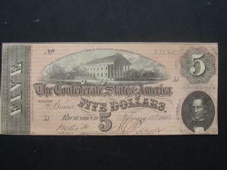 1864 Csa T - 69 Richmond Va.  Confederate $5 Dollar Note Cu photo