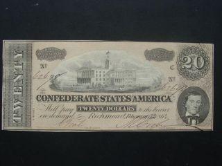 1864 Csa T - 67 Richmond Va.  Confederate $20 Dollar Note Au++ photo