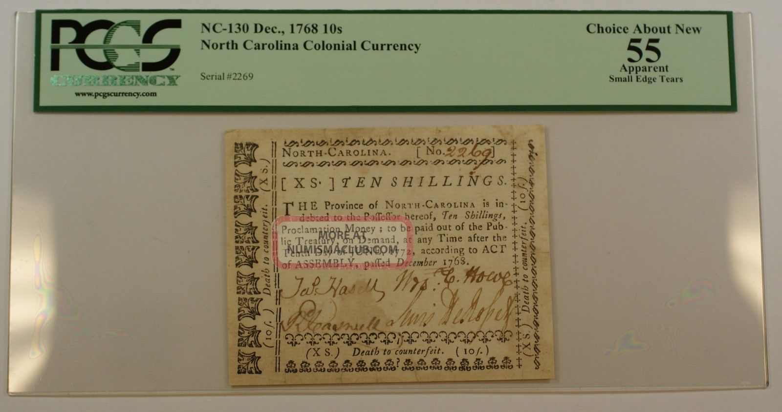 Dec.  1768 10s Colonial Currency Note Pcgs Choice About 55 Apparent Nc - 130 Paper Money: US photo