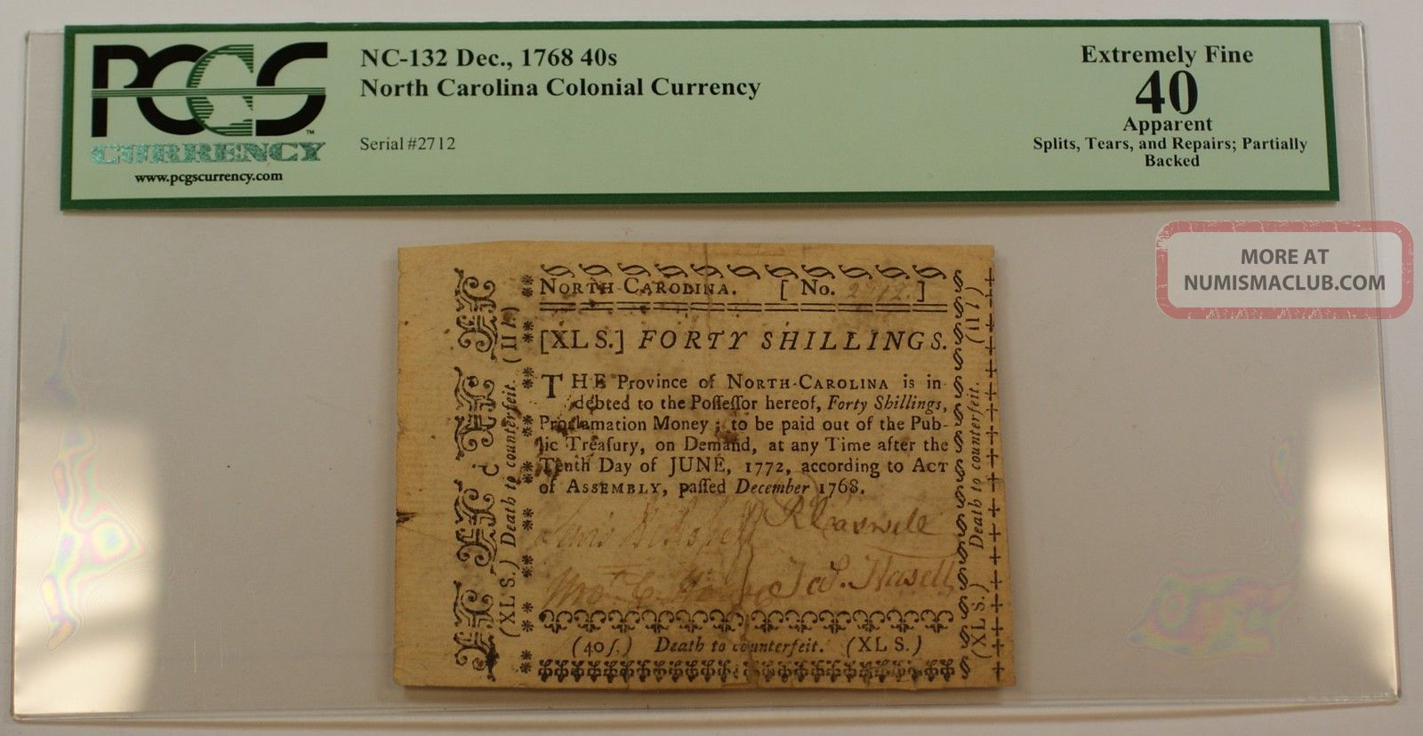 Dec.  1768 40s North Carolina Colonial Currency Note Pcgs Ef - 40 Apparent Nc - 132 Paper Money: US photo