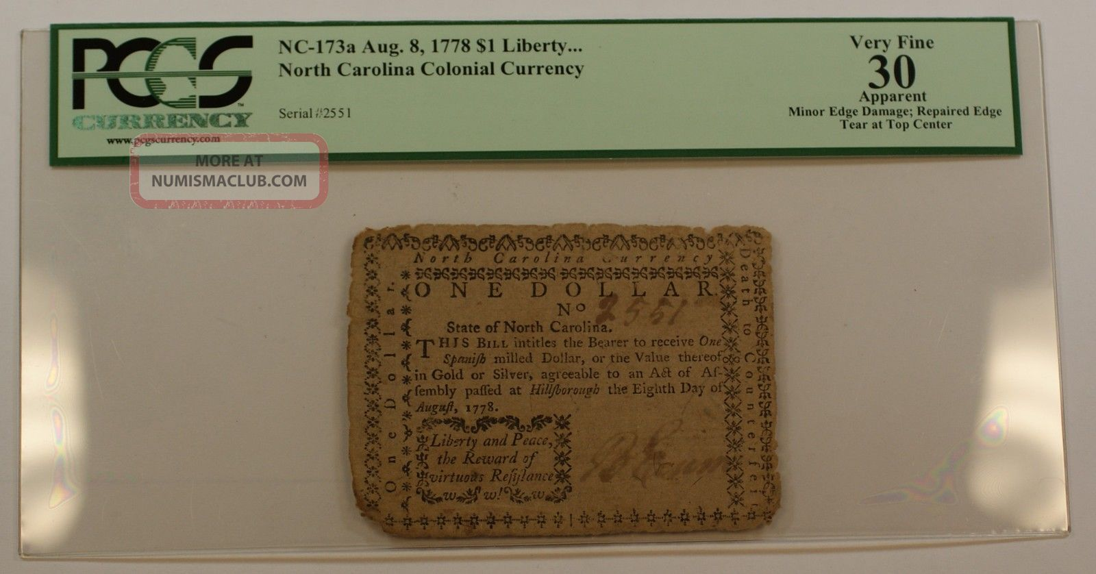 Aug.  8 1778 $1 Liberty Colonial Currency Note Pcgs Vf - 30 Apparent Nc - 173a Paper Money: US photo