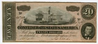 1864 $20 Confederate States Of America T - 67 Crisp Note photo