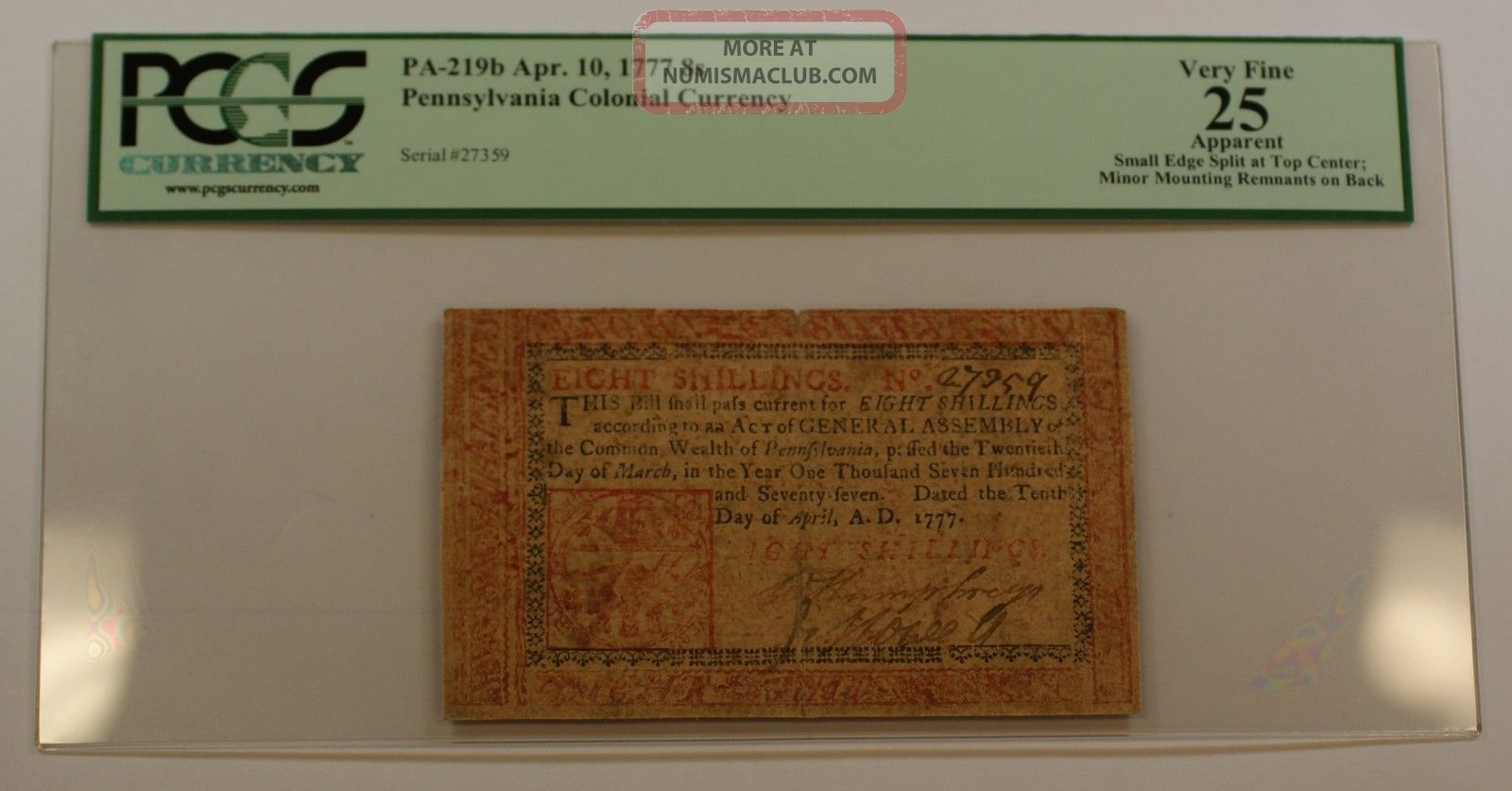 Apr.  10 1777 8s Pennsylvania Colonial Currency Note Pcgs Vf - 25 Apparent Pa - 219b Paper Money: US photo