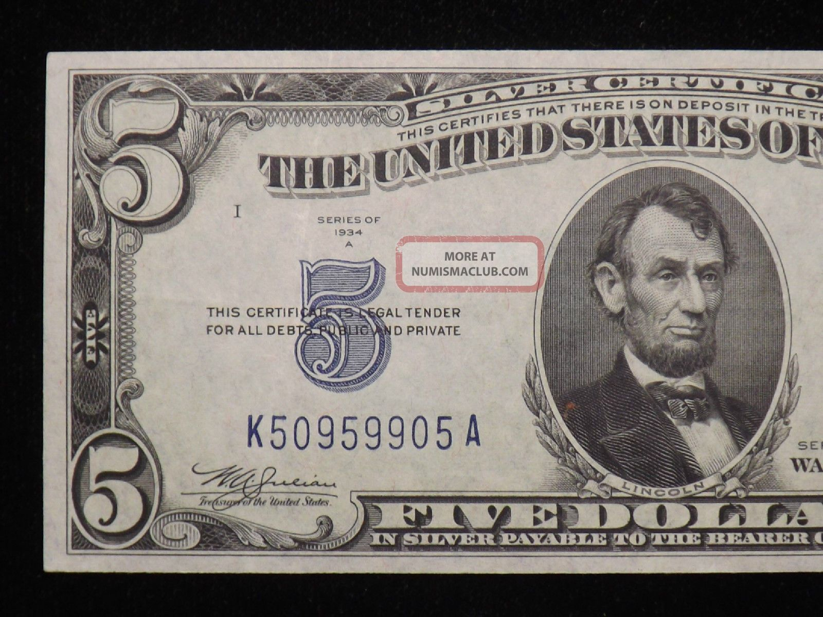 silver dollar certificate 1934 five uncirculated enlarge