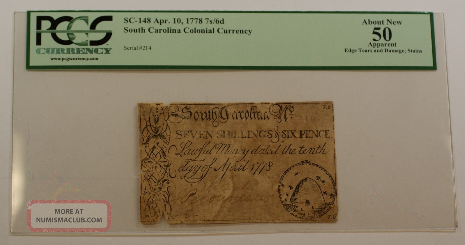 Apr.  10 1778 7s/6d Colonial Currency Note Pcgs About 50 Apparent Sc - 148 Paper Money: US photo