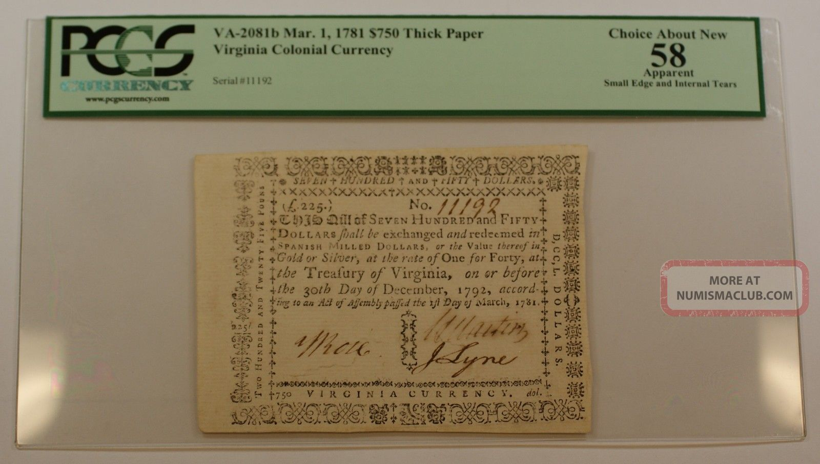 1781 $750 Thick Paper Colonial Note Pcgs Choice About 58 Apparent Va - 2081b Paper Money: US photo