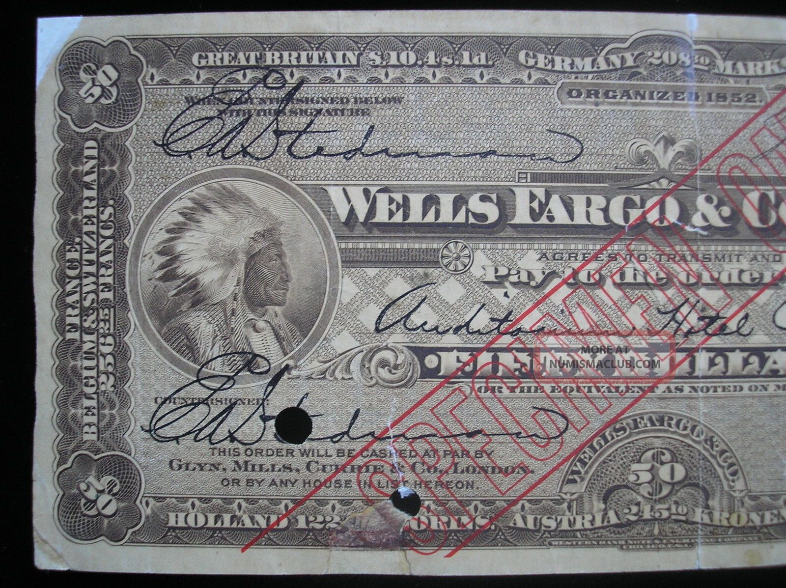 Us Old Travellers Cheque Wells Fargo Amp Company 50