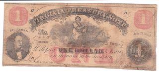 Confederate $1 Bill 1862 Virginia Treasury Note photo