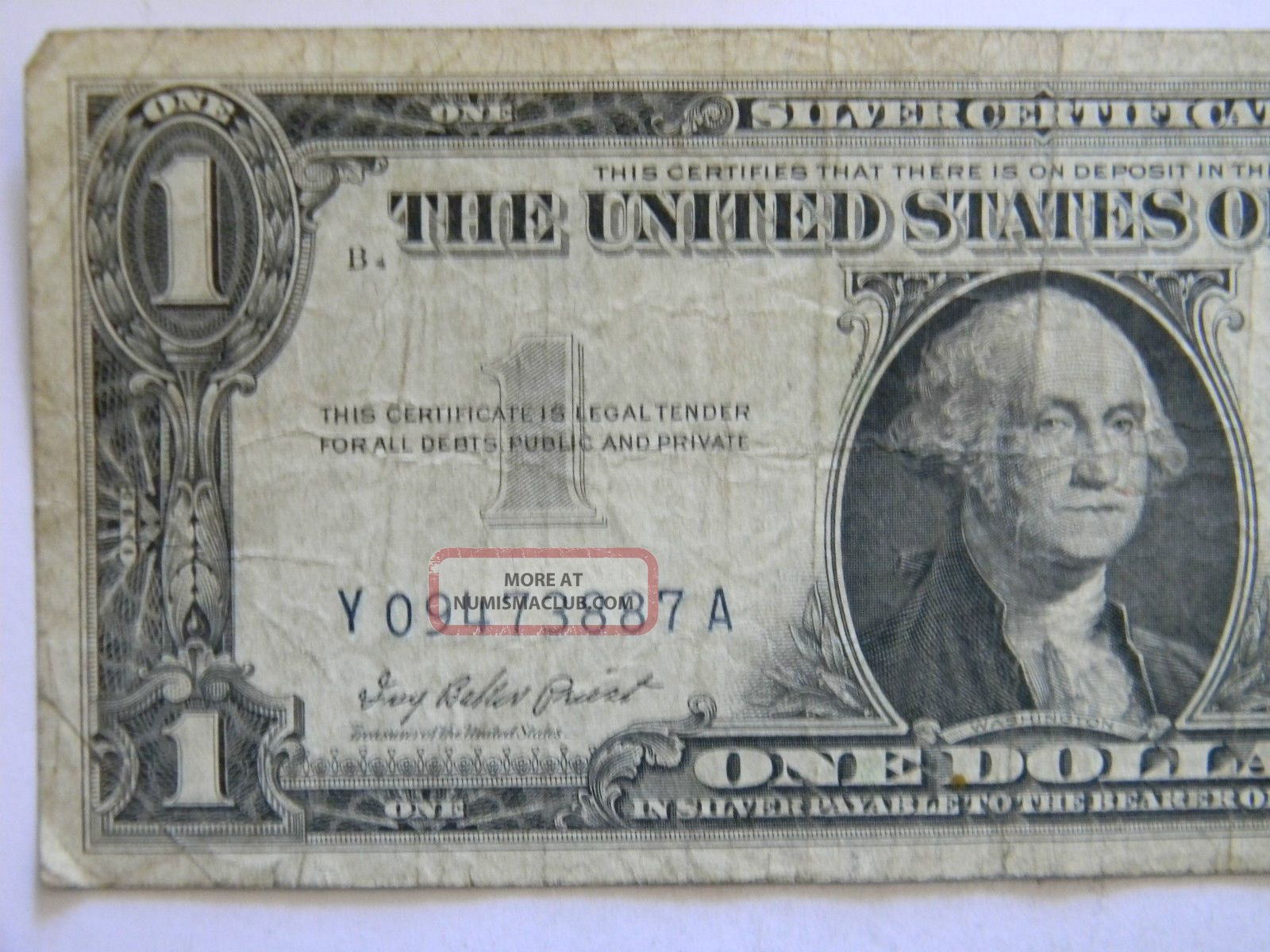 1957 One Dollar Silver Certificate Y Series Blue Seal Low Serial Note