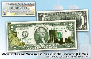 World Trade Center 9/11 Statue Of Liberty Lazer Gold Colorized Usa Legal Note photo