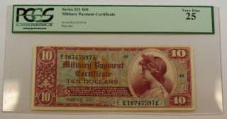 Series 521 $10 Dollar Military Payment Certificate Pcgs Vf - 25 photo