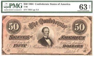1864 Civil War $50 Dollar Csa Confederate T - 66 Pmg Choice Unc 63 photo