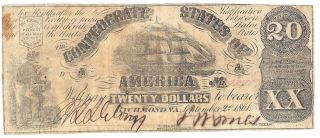 $20 Dollar Confederate Note September 2nd 1861 Fr.  Cs - 2 Vg - Vf Us Currency photo