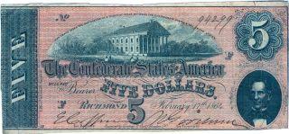 Confederate States Of America Csa Five (5) Dollars February 17th 1864 Richmond photo