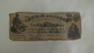 1862 $20 State Of Mississippi Civil War Currency Note Cotton Pledged photo