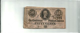 Confederate Richmond Feb.  17,  1864 Fifty 50 Cents Note Csa Circulated photo
