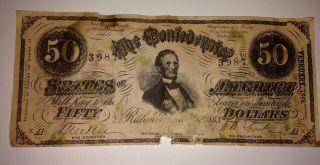$50 February,  1864 Confederate States Of America Richmond,  Va No.  3987 photo