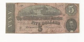 T - 69 1864 Circulated Five Dollars Confederate Currency photo