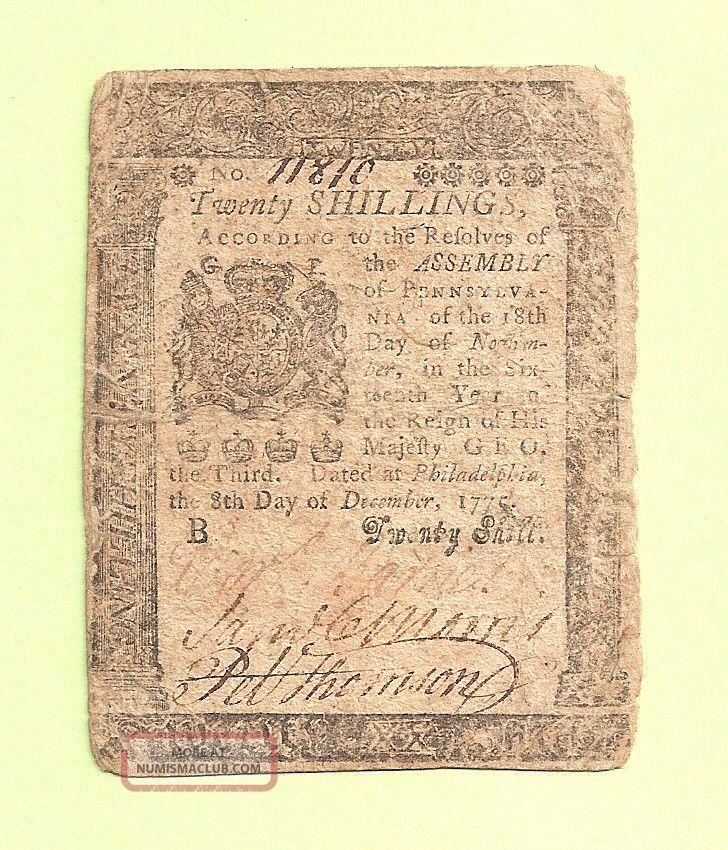 1775 December Twenty Shillings Pennsylvania Affordable Colonial Currency Paper Money: US photo