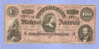 1864 $100 Confederate T - 65 Grade Lucy Pickens Civil War History Very Fine photo