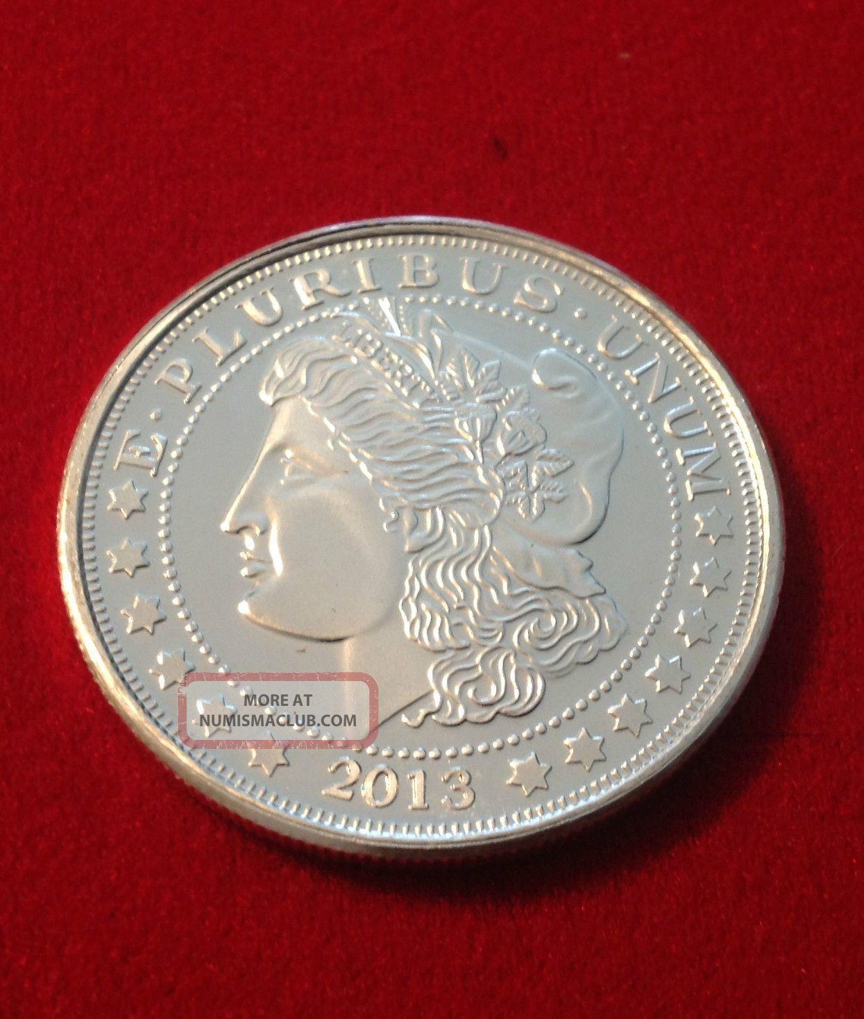 1 Troy Ounce Morgan Dollar Replica Coin Medallion -.  999 Fine Pure Silver Paper Money: US photo
