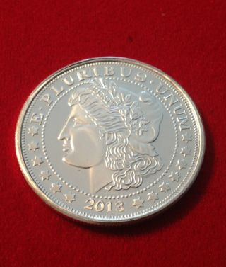 1 Troy Ounce Morgan Dollar Replica Coin Medallion -.  999 Fine Pure Silver photo