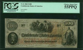 Csa Confederate Currency 1862 $100 T - 41 Certified Choice About Pcgs Au55ppq photo