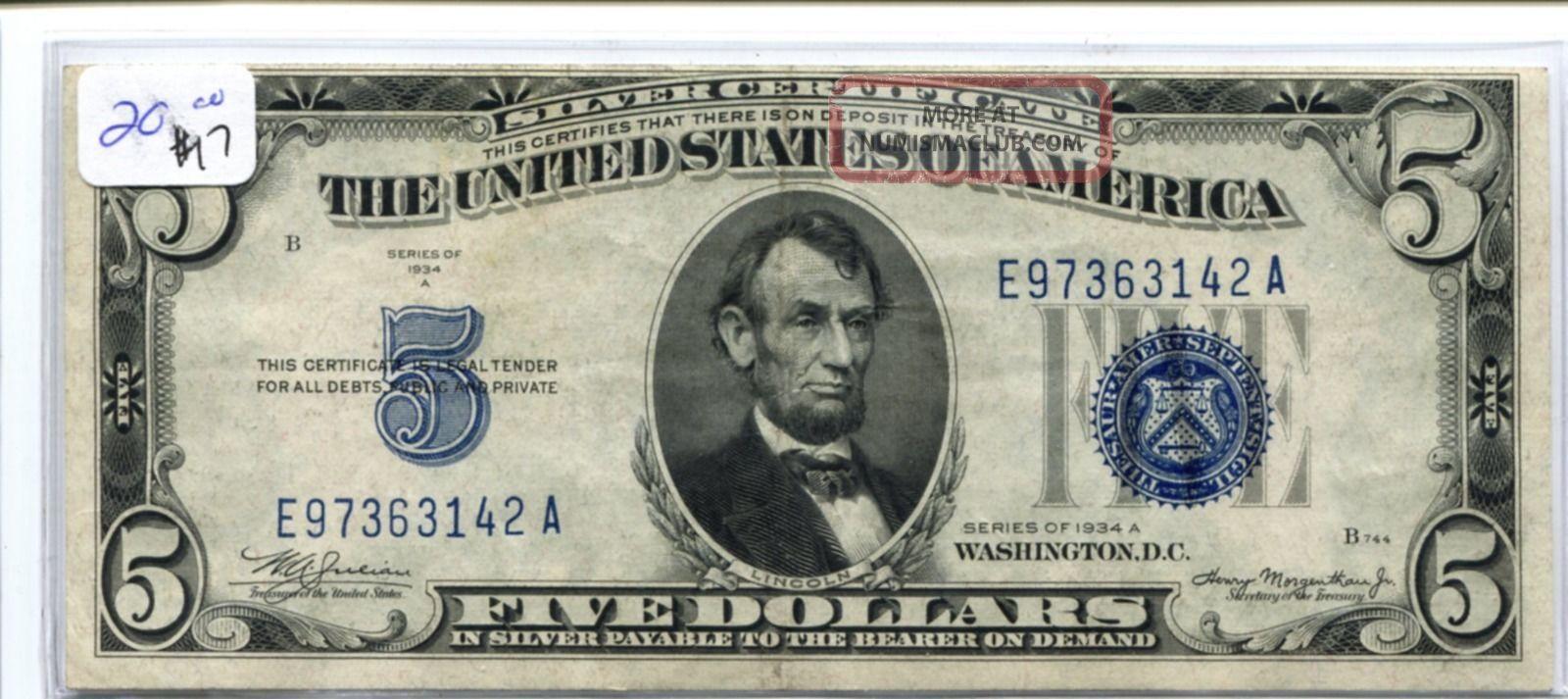 certificate dollar 1934 xf stunning ef